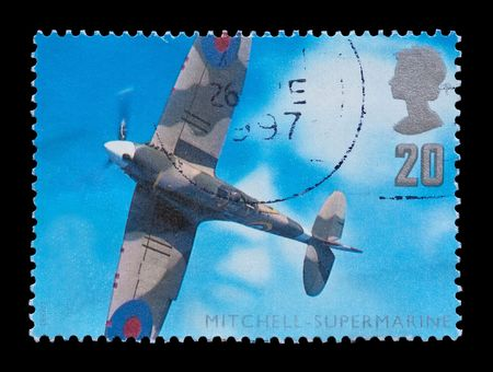 BRITISH: aviation engineering commemorative mail stamp featuring the WW2 Supermarine Spitfire, circa 1997 photo