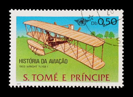 mail stamp featuring the wright brothers first powered flight in 1903 photo