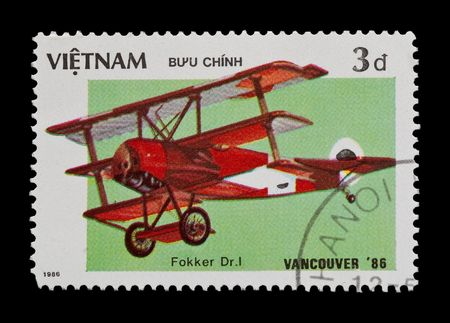 baron: mail stamp featuring the Fokker tri-plane flown by Baron von Richthofen