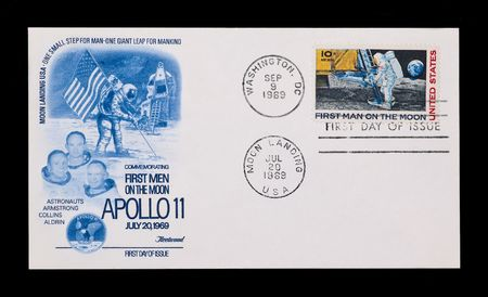 manned: first day stamp issue celebrating the first manned moon landing
