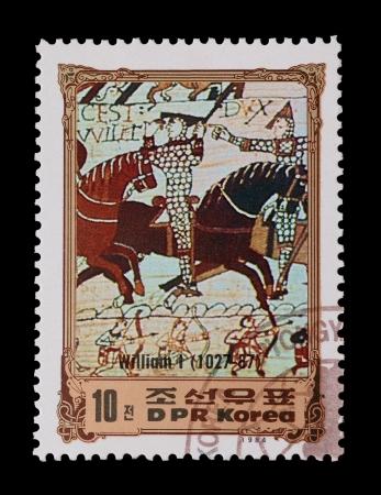 DPR 韓国: メール スタンプ Hastings の戦い 1066年およそ 1984 年の特徴 写真素材