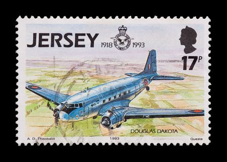 royal air force: JERSEY mail stamp celebrating 75 years of the Royal Air Force Stock Photo