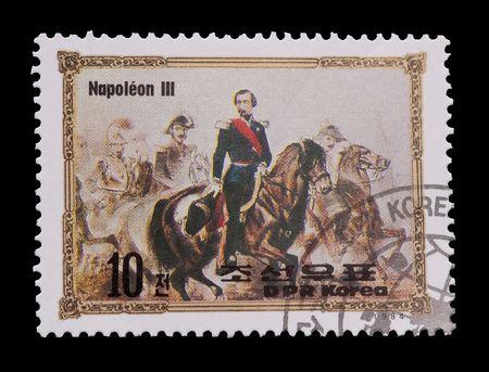 napoleon iii: DPR KOREA mail stamp featuring Napoleon III  Editorial