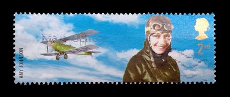 pioneers: mail stamp featuring flight pioneer, Amy Johnson