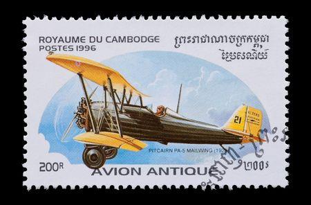 philatelist: Cambodian Luftfahrt Mail Stempel mit die Pitcairn PA-5 Bi-Ebene