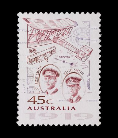 vickers: australian mail stamp featuring pioneering aviators Ross & Keith Smith