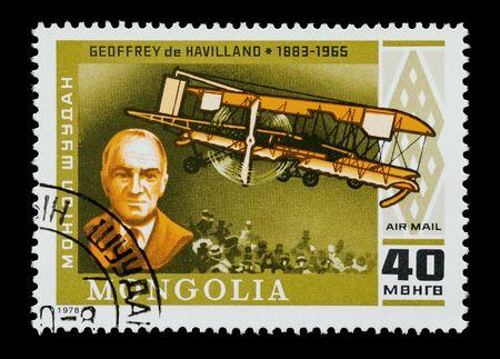 pioneering: mongolian mail stamp featuring aircraft design pioneer Geoffrey de Havilland