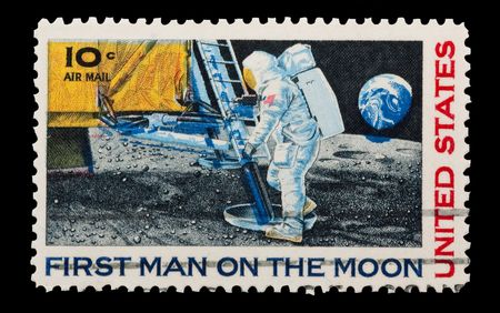 apollo: U.S. mail stamp featuring the first man on the moon