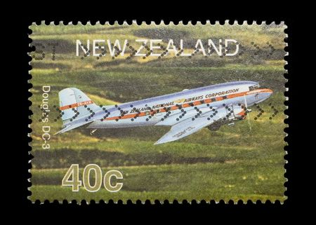 douglas: new zealand mail stamp featuring the Douglas DC-3