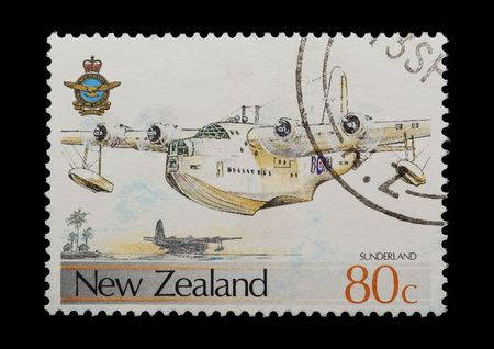 airforce: new zealand mail stamp featuring the Sunderland flying boat Stock Photo