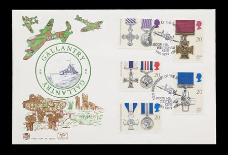 british mail stamps featuring war gallantry medals photo