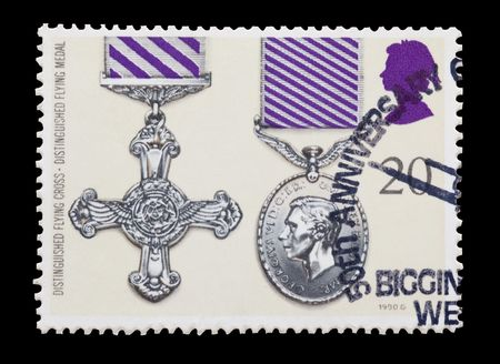 distinguished: british mail stamp featuring the Distinguished Flying gallantry medals