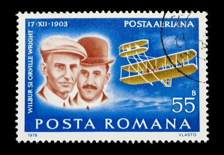 powered: ROMANIA mail stamp showing the Wright Brothers historic first powered aircraft flight