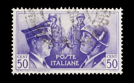 Italian wartime mail stamp showing Hitler and Mussolini