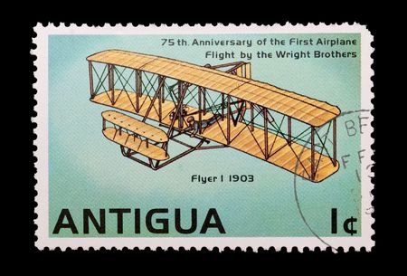 philately: mail stamp printed in Antigua showing the Wright brothers first powered flight, circa 1978