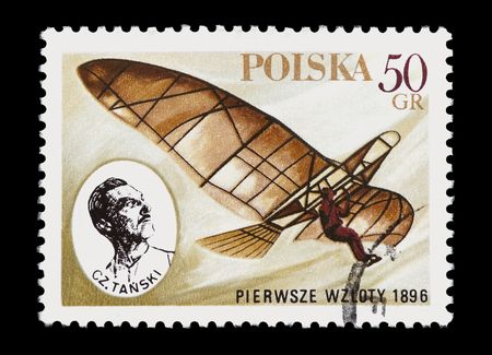 cz: mail stamp printed in Poland celebrating Tanskis first man-powered flight