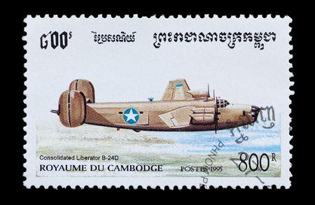 the liberator: francobollo posta stampato in Cambogia con un aereo di bombardiere D 24 USAF Liberator B