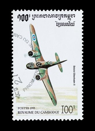 bomber: mail stamp printed in Cambodia featuring an RAF Bristol Blenheim fighter bomber aircraft Stock Photo