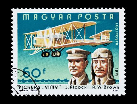 vickers: mail stamp printed in Hungary featuring the first transatlantic flight by Alcock and Brown