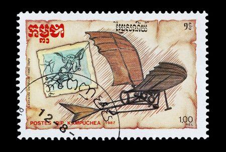 mail stamp printed in Cambodia (Kampuchea) featuring the Da Vinci glider photo