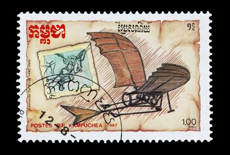 sello de correo imprimido en Camboya (Kampuchea) presentando el planeador de Da Vinci