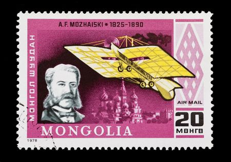 pioneering: mail stamp printed in Mongolia featuring failed aviation pioneer Alexander Mozhaiski