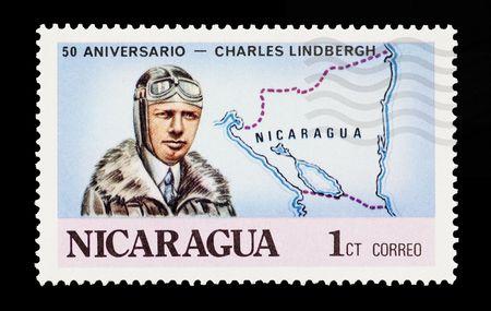 pioneering: mail stamp printed in Nicaragua featuring pioneering aviator Charles Lindbergh