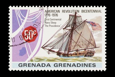mail stamp featuring The Providence Navy sloop sailing ship photo