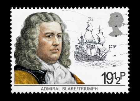 flagship: mail stamp printed in the UK featuring Admiral Robert Blake and his flagship Triumph Editorial