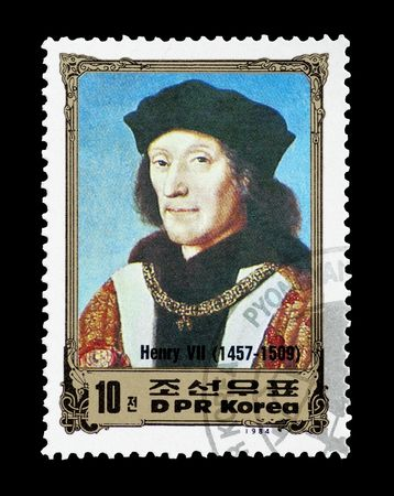 mail stamp printed in North Korea featuring historical British monarch Henry VII, circa 1984