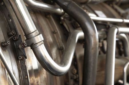 closeup of industrial metal pipes and tubing photo