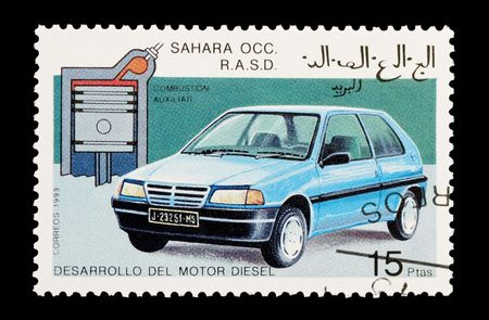 occ: mail stamp printed in Western Sahara featuring the developement of the diesel engine