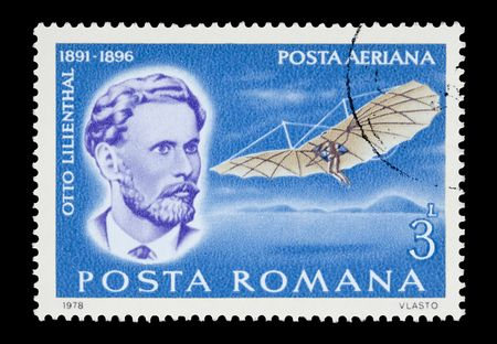 pioneer: mail stamp printed in Romania featuring man-powered flight pioneer Otto Lilienthal