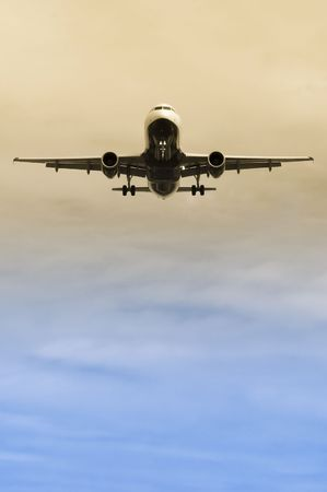 jets: passenger jet on landing approach with gradient coloring Stock Photo