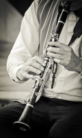 clarinet: clarinet musician playing his instrument in a jazz band Stock Photo