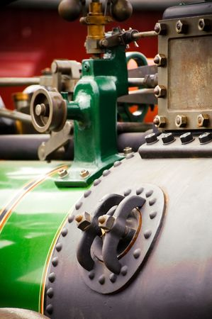 traction engine: steam powered traction engine boiler mechanics closeup