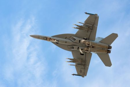 undercarriage: FARNBOROUGH AIRSHOW, UK - JULY 20, 2010: US Navy F-18 Super Hornet with full undercarriage extension.