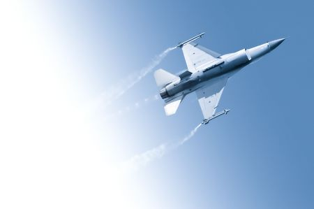 jet fighter: military jet flying through a gradient blue sky