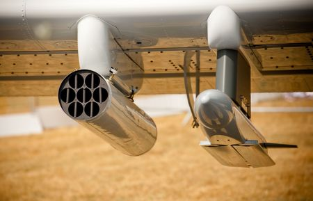 underwing: assorted weaponry under the wing of a military aircraft