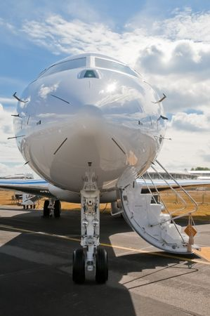 luxury business jet being prepared for passengers photo
