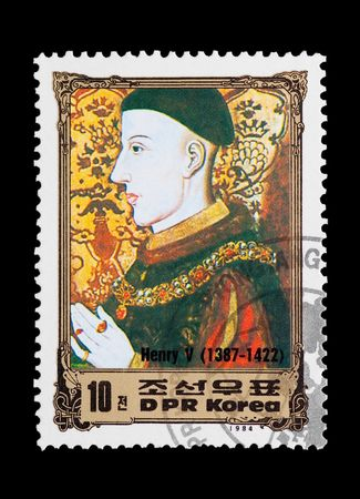 henry: mail stamp printed in North Korea featuring British monarch King Henry V Editorial