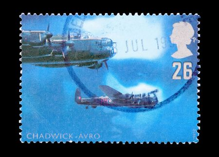 raf: mail stamp printed in the UK featuring RAF night bomber aircraft Stock Photo