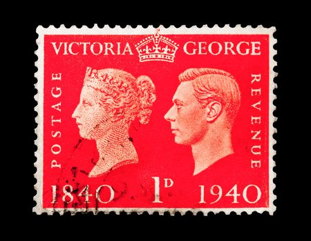 the monarchy: vintage mail stamp printed in the UK commemorating a 100 year period of the British monarchy, circa 1940