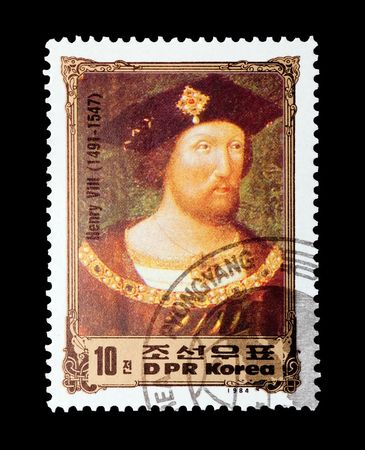mail stamp printed in North Korea featuring British monarch Henry VIII, circa 1984 Stock Photo - 7923090