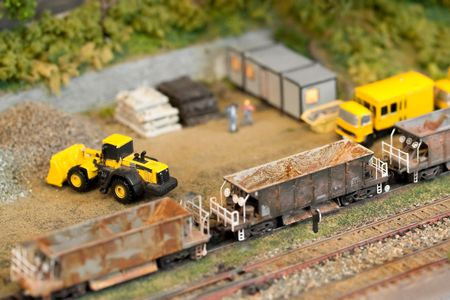miniature model railroad construction site with shallow d.o.f photo