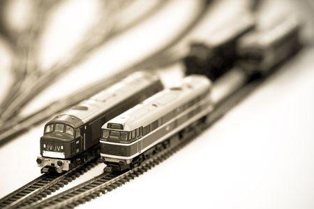 sepia tint locomotives on a miniature train set photo