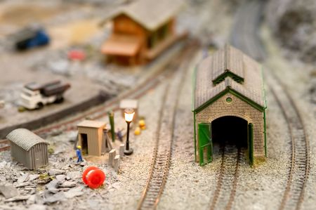miniature train set architecture detail with shallow d.o.f photo
