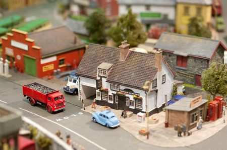 public houses: british model village detail with shallow d.o.f Stock Photo
