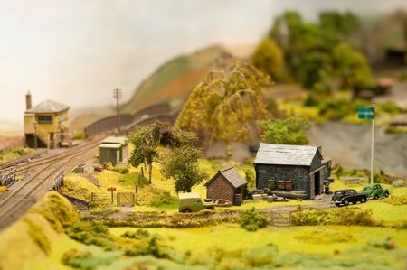 miniatuur model train set landschap en farm