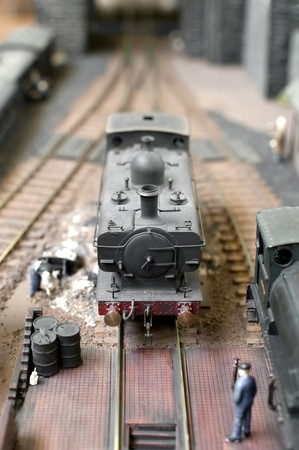 model steam locomotive in for repairs Stock Photo - 8071302